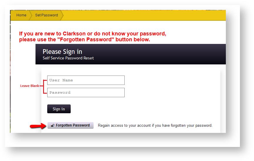 Using setpassword clarkson edu For Initial Password Or Forgotten